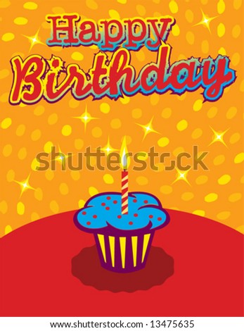 Abstract colorful birthday cupcake background - stock vector