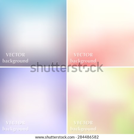 Abstract colorful blurred smooth pastel soft colors vector backgrounds set EPS10 - stock vector
