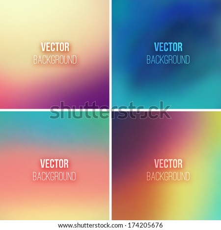 Abstract colorful blurred vector backgrounds set 9 - stock vector