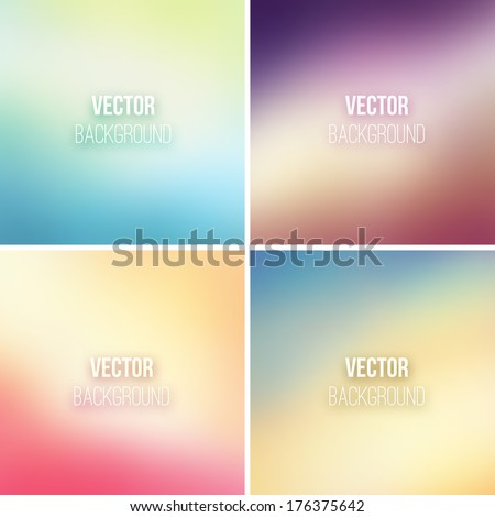 Abstract colorful blurred vector backgrounds set 17 - stock vector