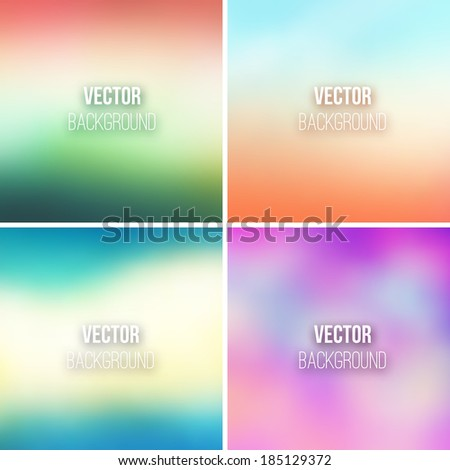 Abstract colorful blurred vector backgrounds set 21 - stock vector