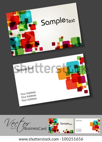 Abstract colorful bright color professional and designer business card template or visiting card set. EPS 10. Vector illustration. - stock vector