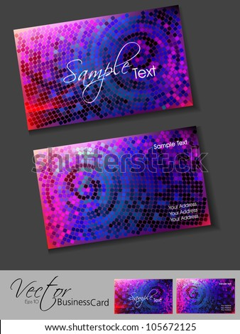Abstract colorful bright color professional and designer business card template or visiting card set with mosaic effect. EPS 10.