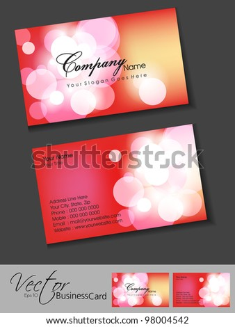 Abstract colorful bright color professional and designer business cards template or visiting card set in pink color. EPS 10, vector illustration. - stock vector