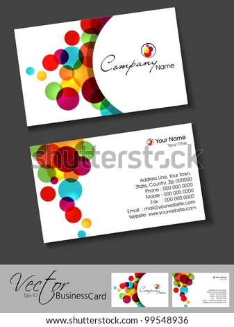 Abstract colorful bright color professional and designer business cards template or visiting card set. EPS 10. Vector illustration. - stock vector