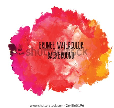Abstract colorful bright vector watercolor spot hand painted background. Text template. Summer colors. Orange, yellow, magenta and red shades. - stock vector