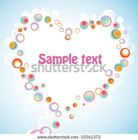 Abstract colorful bubbles heart. Vector background