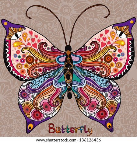 Abstract colorful butterfly on a floral background - stock vector