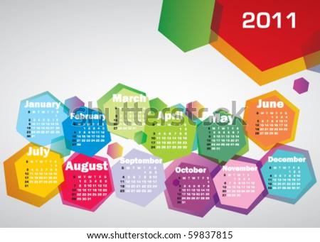 Abstract colorful calendar 2011. Vector . - stock vector
