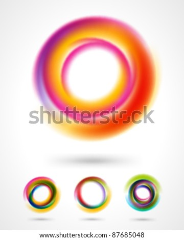 Abstract colorful circles design elements set. Eps 10. - stock vector