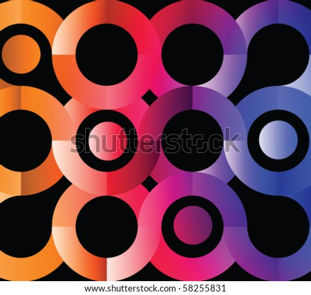 Abstract colorful circles on the black - stock vector