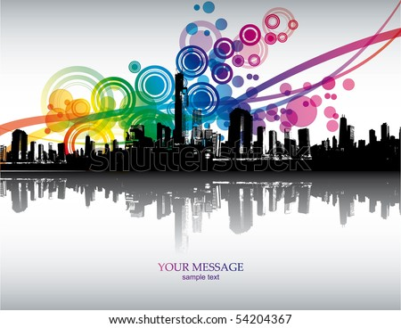 Abstract colorful city background. Vector. - stock vector