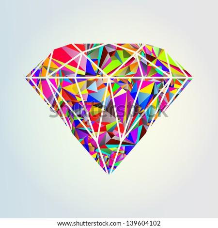 Undershave Diamond Design Abstract Colorful Diam...