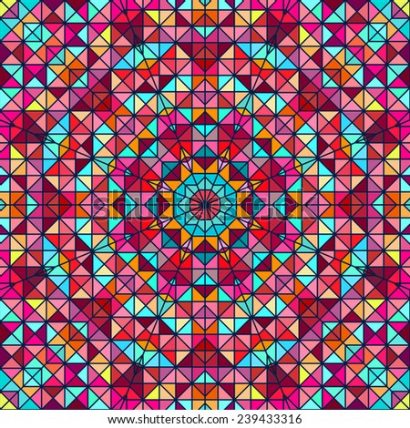 Abstract Colorful Digital Decorative Flower. Geometric Contrast Line Star and Blue Pink Red Cyan Color Artistic Backdrop - stock vector