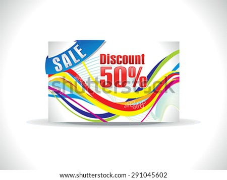 abstract colorful discount card template vector illustration - stock vector
