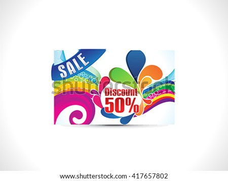 abstract colorful discount card vector illustration - stock vector