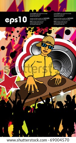 Abstract colorful DJ disco flyer - stock vector
