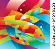 Abstract colorful fishes near the coral reef. Vector illustration. - stock photo