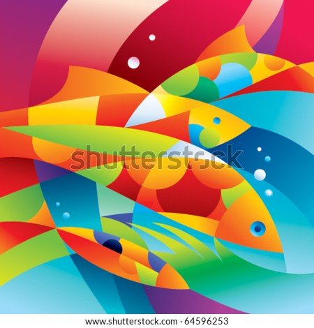 Abstract colorful fishes near the coral reef. Vector illustration. - stock vector