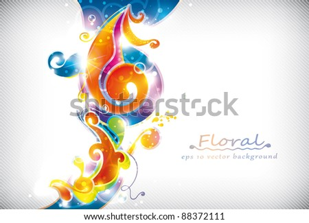 Abstract colorful floral vector banner - stock vector