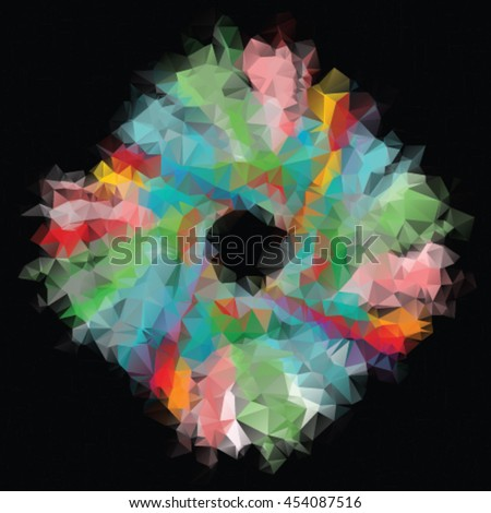 Abstract colorful flower in triangle style isolated on black background  - stock vector