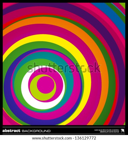 Abstract colorful geometric background made by circles vector illustration. Vector swirl background layout template. Modern colorful stripes background. Bright wavy lines design background. - stock vector