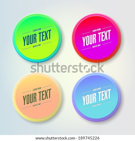Abstract colorful geometrical circles design bubble set with your text  Eps 10 stock vector illustration