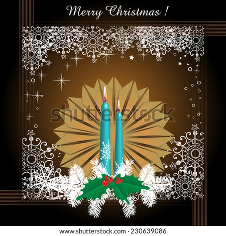 Abstract colorful greeting with a brown flower, white fir branches, mistletoe and blue candles. Christmas card concept - stock vector