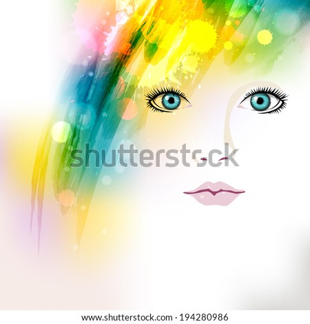 Abstract colorful grunge elements of design with a beautiful woman's face - stock vector