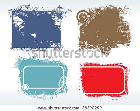 abstract colorful grungy frames illustration with artistic design - stock vector
