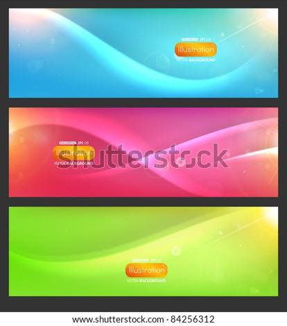 abstract colorful header set vector design - stock vector