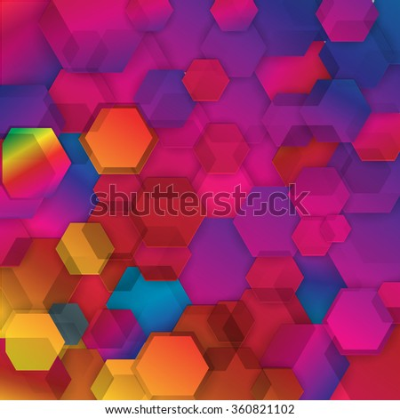 Abstract colorful hexagonal geometric background - stock vector
