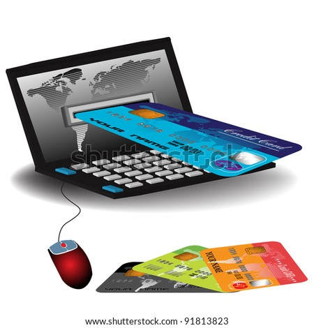 Abstract colorful illustration with a credit card entering through a laptop's screen. Internet banking theme - stock vector