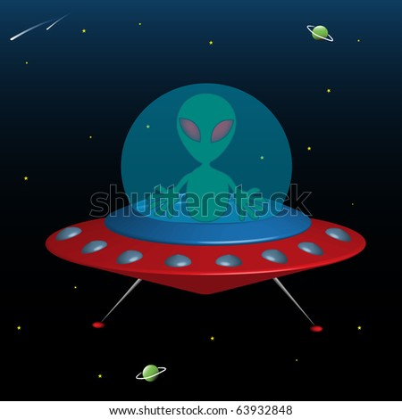 Abstract colorful illustration with a green alien driving a flying saucer