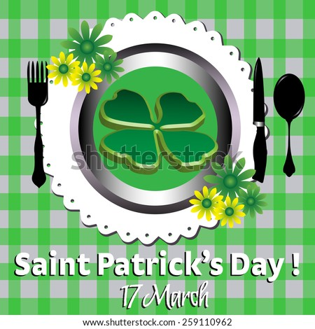 Abstract colorful illustration with a huge four leaf clover on a plate. Saint Patrick greeting theme - stock vector