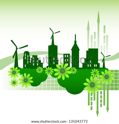 Abstract colorful illustration with an eco city standing on green clouds and green flowers. Ecological city concept