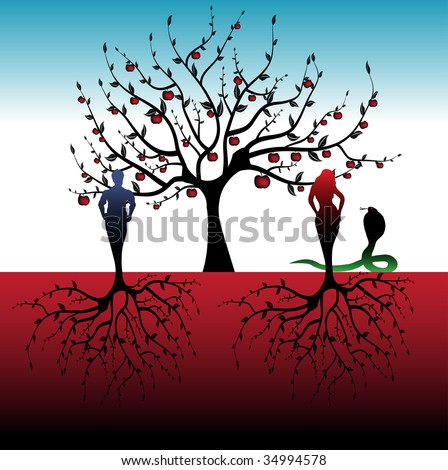 Abstract colorful illustration with apple tree, snake and a man with a woman with roots instead of feet. Adam and Eve concept - stock vector