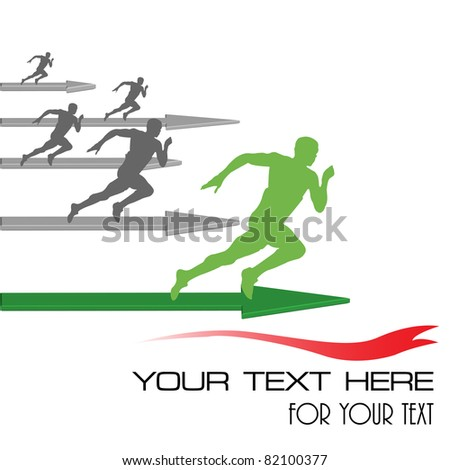 Abstract colorful illustration with athletes competing for the first position. Success in business concept - stock vector