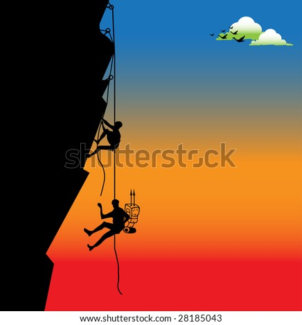 Abstract colorful illustration with birds, clouds, and two climbers hanging on ropes and trying to climb a difficult side of a rock