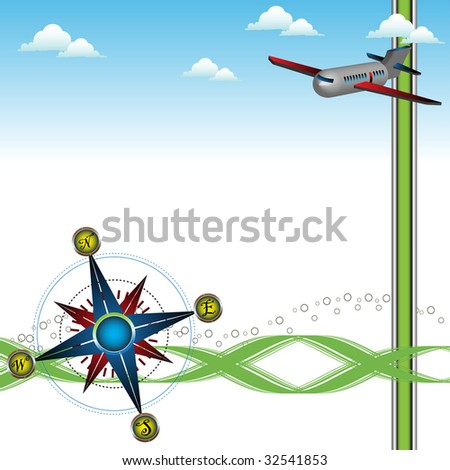 Abstract colorful illustration with blue compass, clouds and plane. Travelling concept - stock vector