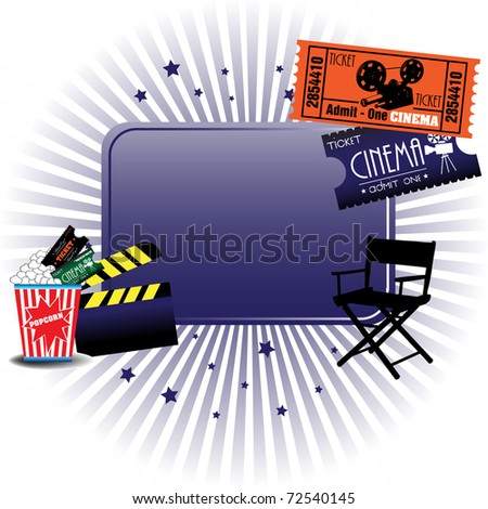 Abstract colorful illustration with cinema tickets, director chair, clapboard and popcorns - stock vector