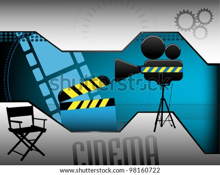 Abstract colorful illustration with clapboard, movie director chair, movie projector and various film related elements. Cinema concept - stock vector