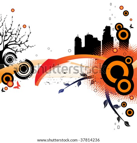 Abstract colorful illustration with colored circles, arrow, building shapes, tree with many branches and small butterflies. Nature and city concept - stock vector