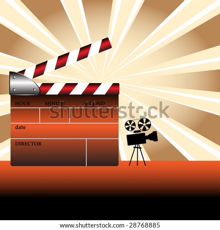 Abstract colorful illustration with colored clapboard and small movie camera shape - stock vector
