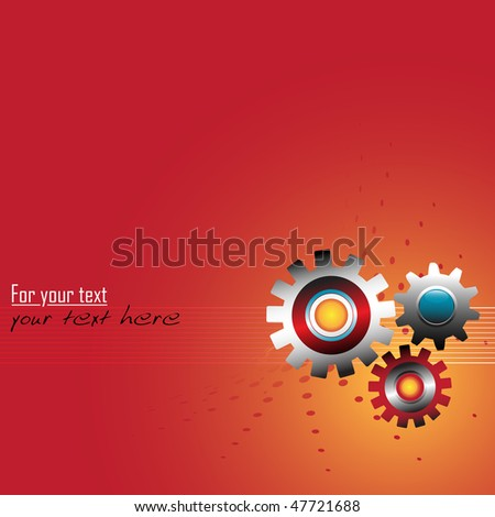 Abstract colorful illustration with colored metallic gears on thin stripes. Corporate business concept - stock vector
