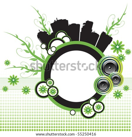 Abstract colorful illustration with colorful circles, loudspeakers, buildings, flowers and green branches. Abstract urban design