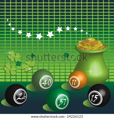 Abstract colorful illustration with colorful lottery balls, green clovers and pot of gold symbol of fortune - stock vector