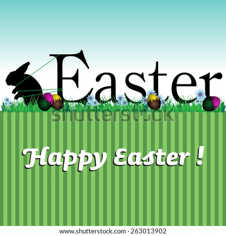 Abstract colorful illustration with Easter bunny pulling the word Easter. Easter card concept - stock vector