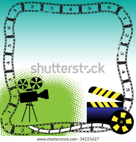 Abstract colorful illustration with frame made from numbered filmstrip, movie projector shape, colored clapboard and film reel - stock vector