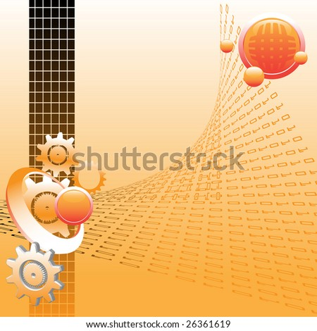 Abstract colorful illustration with gear shapes, floating orange bubbles and distorted binary numbers. High tech concept - stock vector